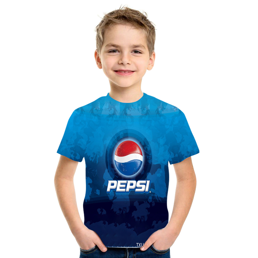2021New Summer 3D Printing Cola Pattern Boys And Girls Casual Breathable Short Sleeve T-Shirt 100-170