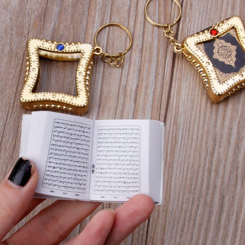 Image 5 - Mini Ark Quran Book Real Paper Can Read Arabic The Koran Keychain Muslim JewelryKey Chains