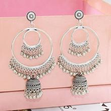 Gypsy Indian Womens bell Tassel Jhumka Earrings Antique Ethnic Color Alloy Big Circle Bell Drop Earring Fashion Jewelry