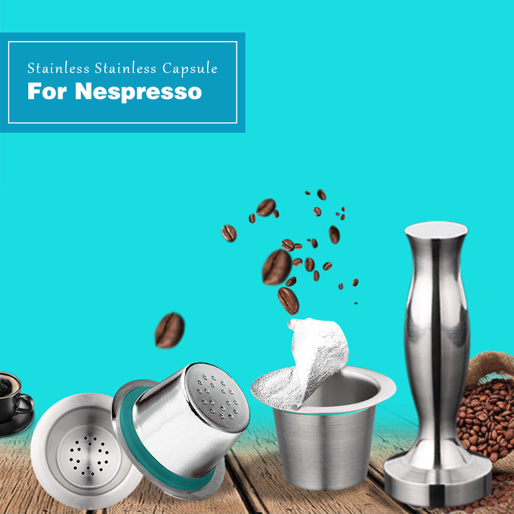 3 Pods 1 Coffee Tamper Stainless Steel Nespresso Reusable Coffee Capsule Refillable Cup Filter Coffee Maker Pod With 120 Seals