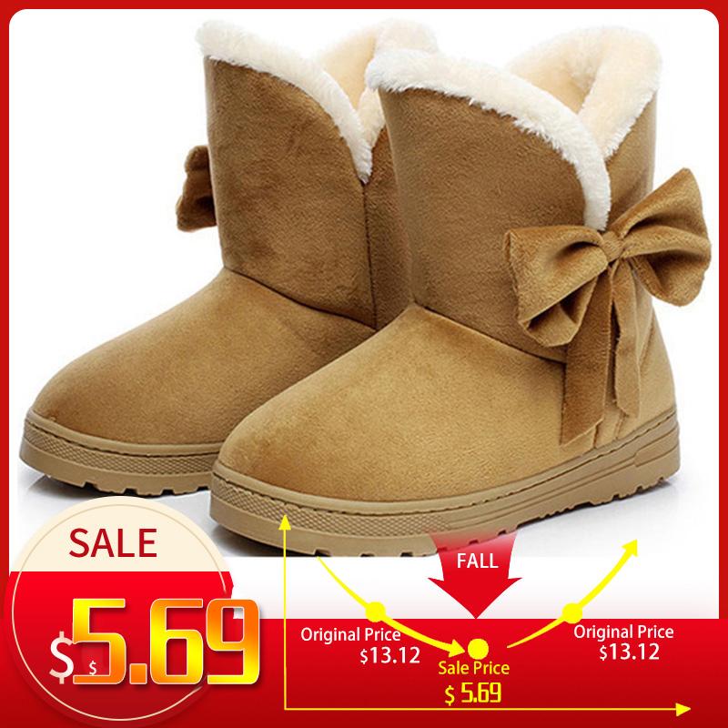 Women Boots Female winter boots Warmer Plush Bowtie Fur Suede Flat Slip On Ankle Snow Boots Women's Shoes Fashion Platform Black