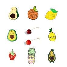 Owoce kolekcji! Śliczne ananasowe szpilki emaliowane broszka rdzeń awokado truskawkowy worek na koszulę zabawna naszywka zwierzę biżuteria przypinka prezent