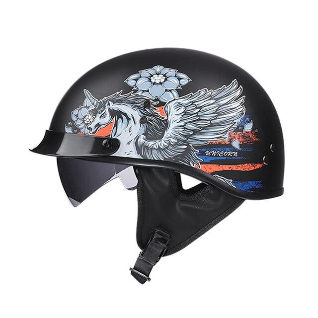 casque mobylette moto Vintage demi-visage rétro avec pare-soleil intérieur  2