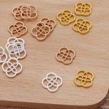 50 pçs/lote 12mm conectores de folha de flor diy handamde jóias acessórios peças jóias que fazem material suprimentos cor ouro 0111