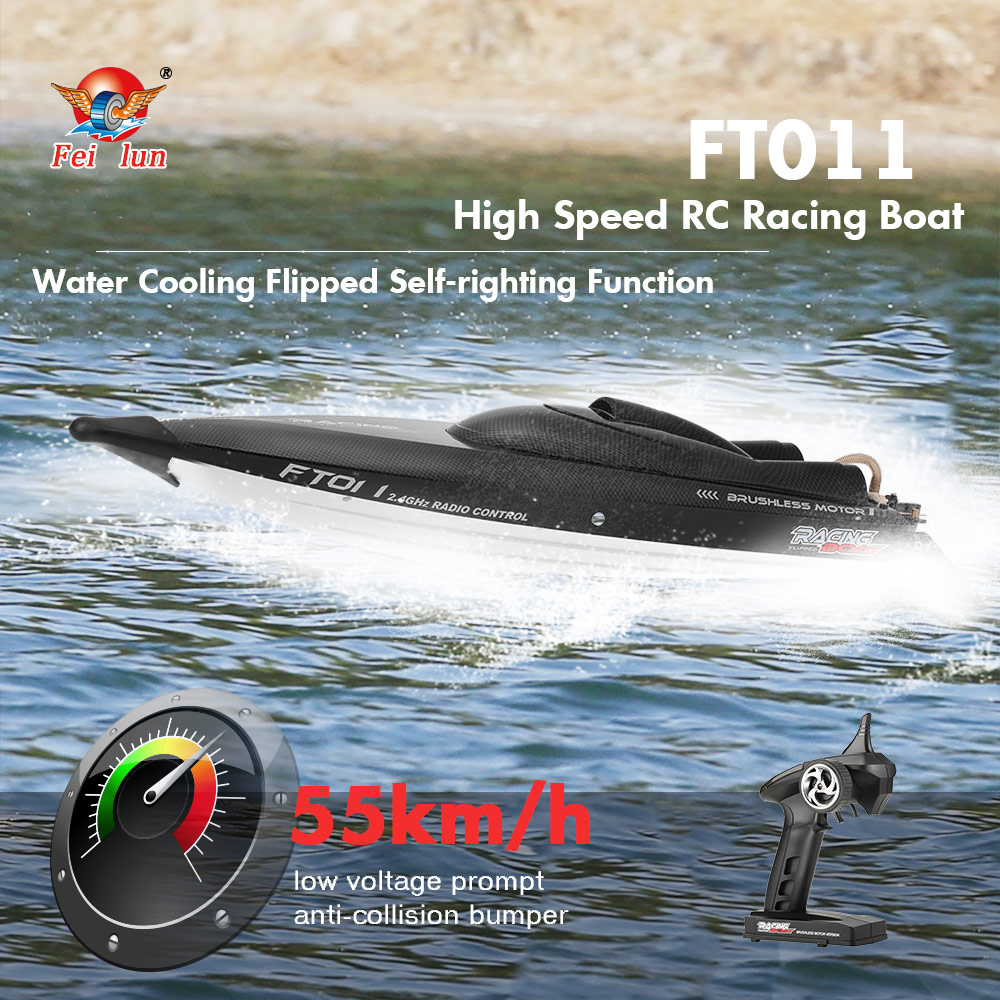 Original FT011 2.4G 55 km/h haute vitesse RC bateau de course vitesse avec refroidissement par eau système renversé RC ft011 bateau