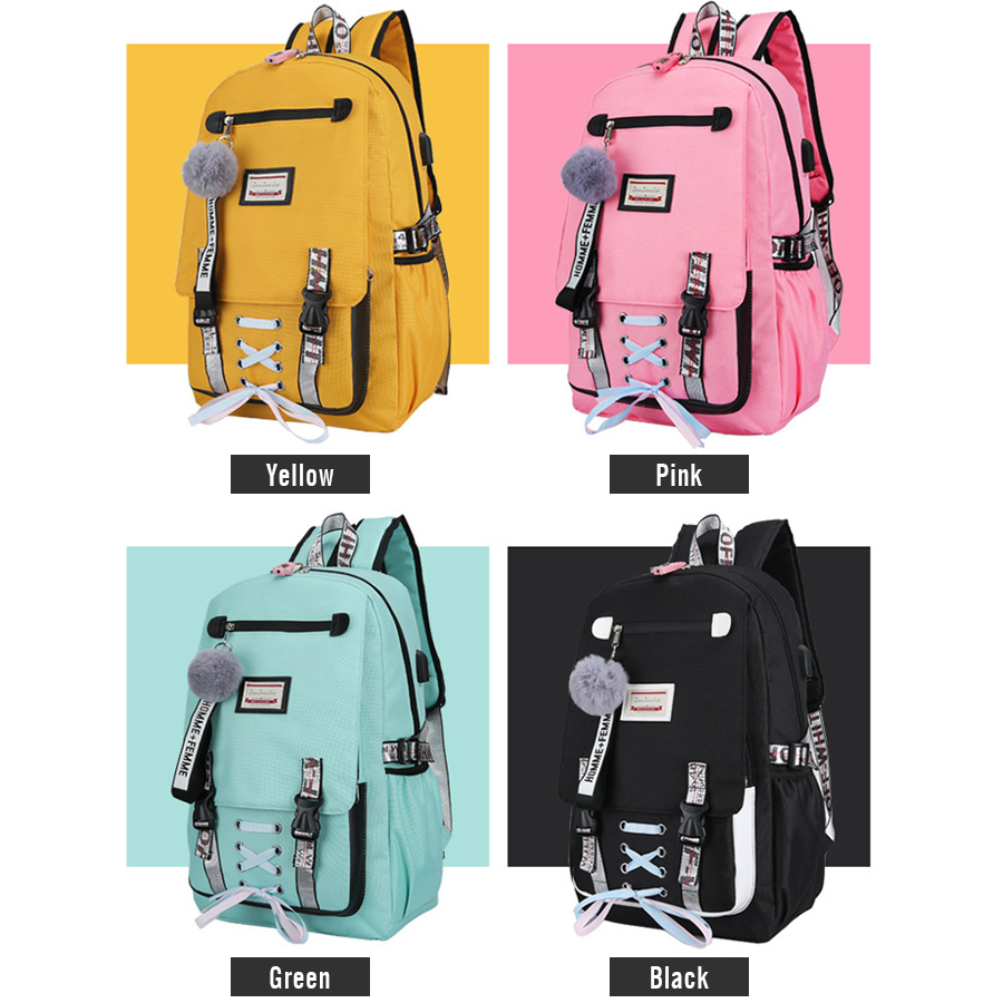 Women Large Capacity Ribbons Backpack Travel USB Charging Backpacks Female Letter School Bag For Teenage Girls Book Mochilas