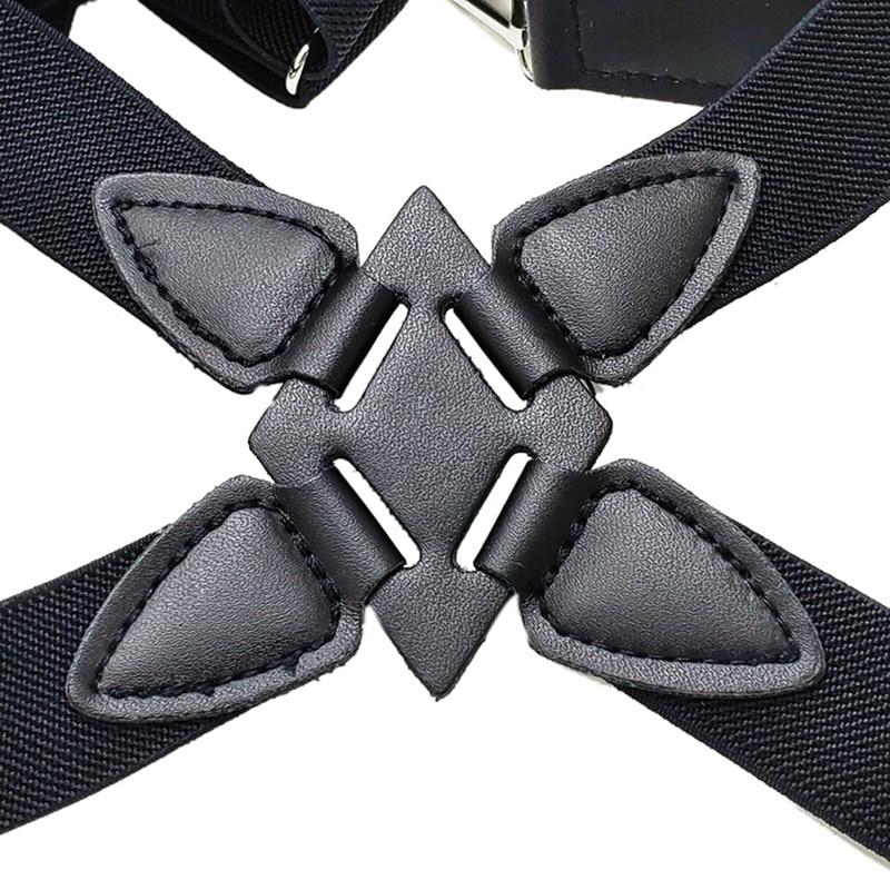 1pcs Suspenders Men Wide Adjustable Four Clip-on X- Back Elastic Black  Heavy Duty Braces
