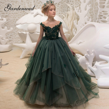 Green Ball Gown Flower Girl Dresses Tiered Tulle Girls Wedding Party Dresses Nude Lace Appliques Long Girls Pageant Dresses lovely lace flower girl dresses hi low jewel neck pink long sleeve pageant dresses fluffy tiered satin girls pageant dress