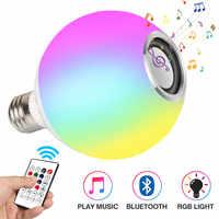 Altavoz Bluetooth blanco inteligente E27 RGB bombilla LED luz ajustable de música luz LED inalámbrica 24 llaves de control remoto