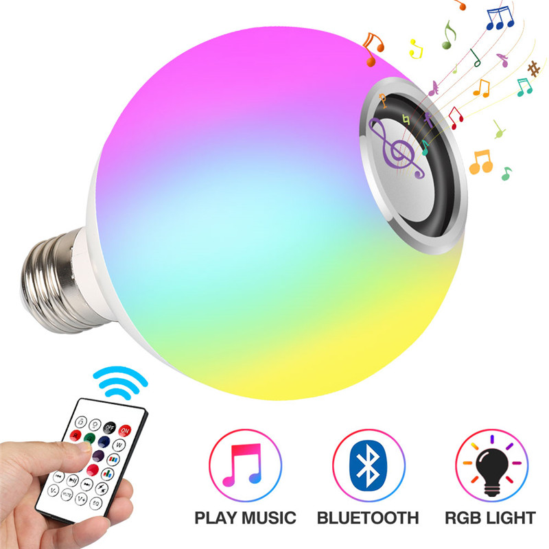 Intelligent E27 RGB White Bluetooth Speaker LED Light Bulb Adjustable Music Light Wireless LED Light 24 Remote Control Keys