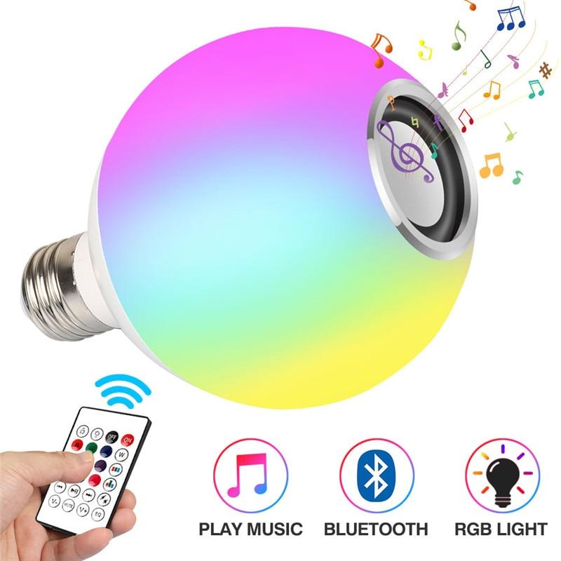 Intelligent E27 RGB White Bluetooth Speaker LED Light Bulb Adjustable Music Light Wireless LED Light 24 Remote Control Keys