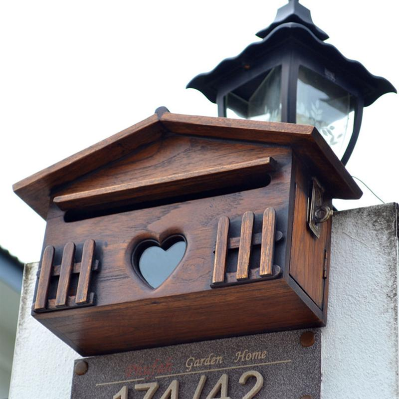 1PC Wooden Mailbox Outdoor Post Box Rainproof Suggestion Box Creative Wall Mounted Letter Box For Home Company Garden Supplies