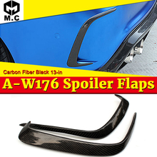 W176 Rear Lip Splitters Air Flow Vent 2 Pcs Carbon Fiber Black Fits For Benz A180 A200 Bumper Raft Splitter 13-18