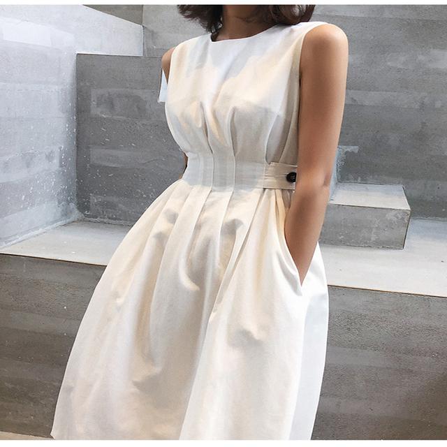 2020 lato kobiety solidny biały czarny moda elegancka sukienka w stylu Casual imprezowa O neck bez rękawów Tank Sundress kobieta Vestido tanie tanio KALEIRDA -Line O-neck Pełna Zbiornik WOMEN Kieszenie empire Połowy łydki Viscose(Rayon) Poyester