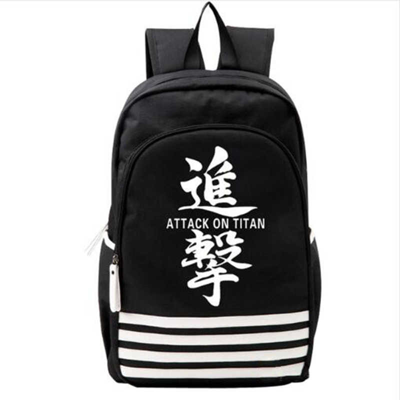 Anime Attack on Titan Black Wings Backpack Student Mens Boys Schoolbag Book Bag Shoulder Travel Bags Purse Back Pack Knapsack