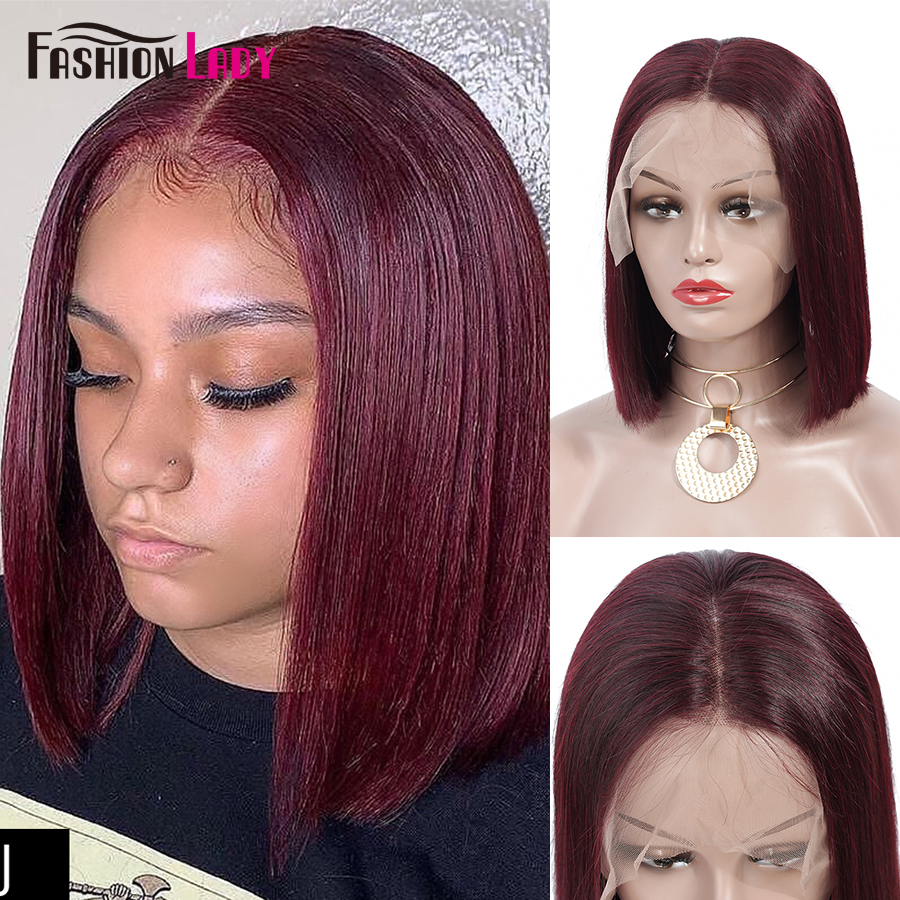 Fashion Lady Red 99j Lace Front Human Hair Wigs Brazilian Short Bob Lace Front Wigs Pre Colored Remy Human Hair Wig