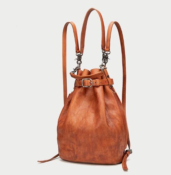 Couro genuíno vintage feminino sólido pequeno balde saco cinta mochila