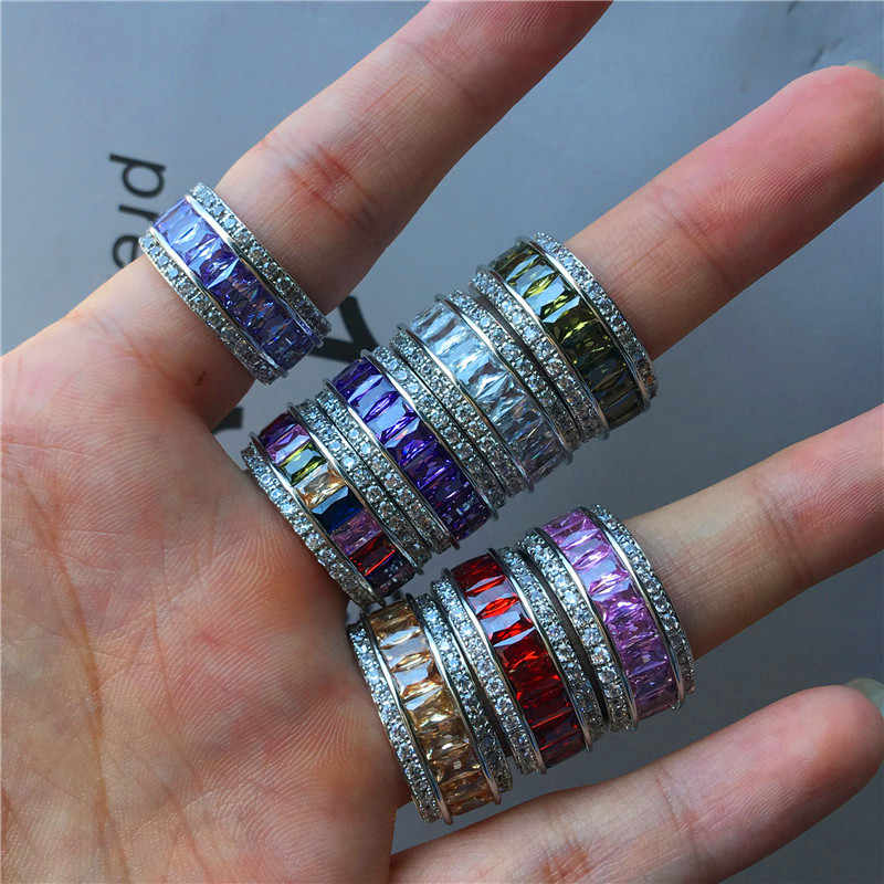 高級女性の紫色の赤虹カラフルなジルコンリングファッション 925 シルバーカラーパーティーリングヴィンテージゴールドリングメッキパーティー結婚指輪女性
