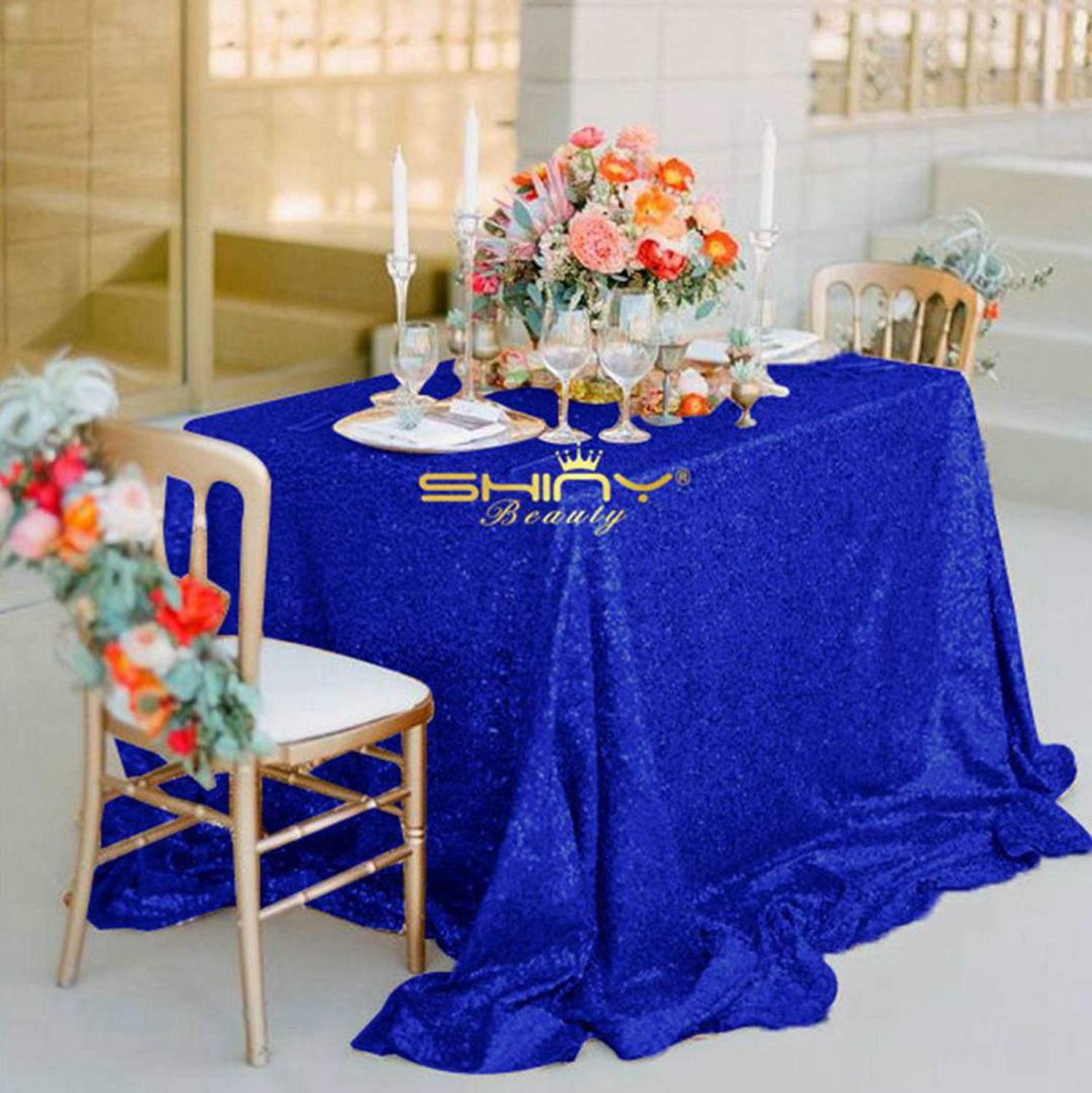 Rectangular Sequin Tablecloth 60x102-Inch Blue Sequin Table Cloth Royal Blue Tablecloths For Parties-M0928
