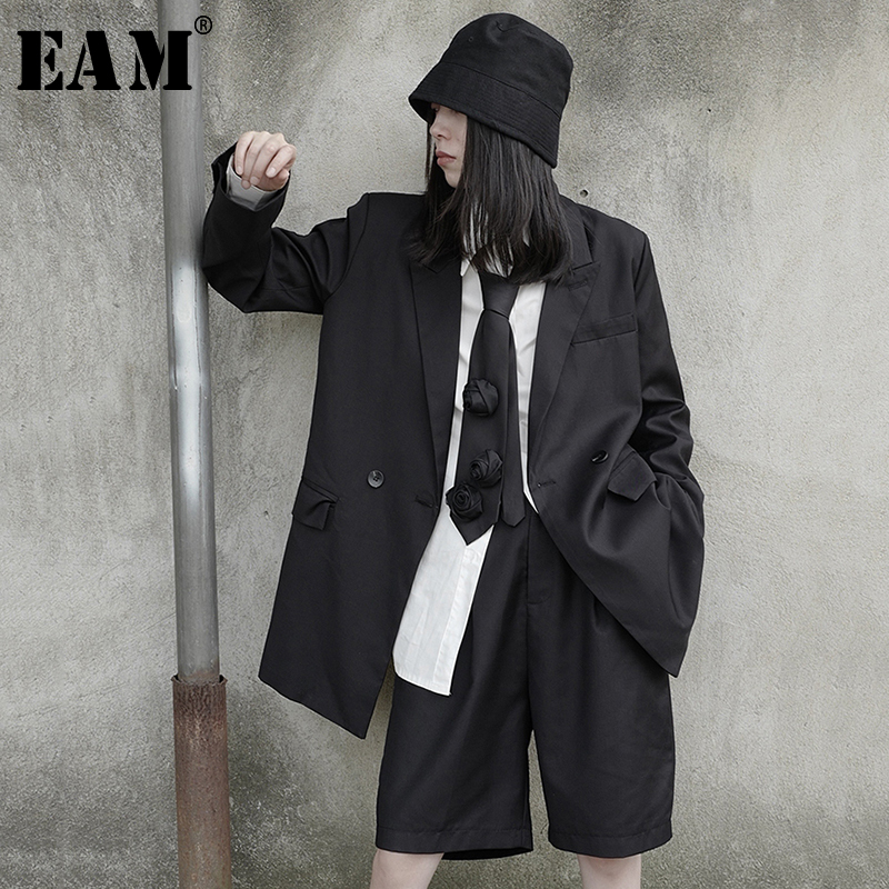 Two-Piece-Suit EAM Pants Spring Long-Sleeve Women Fashion Leg Knee-Length Fit Loose Lapel