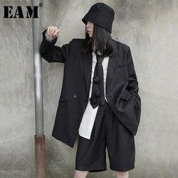 [EAM] jambe large genou longueur pantalon deux pièces costume nouveau revers à manches longues noir ample Fit femmes mode printemps automne 2020 1X657