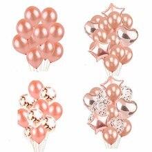 Latex Holiday DIY Balloons Wedding Decorations Birthday Party Supplies  Rose Gold Heart And Star Shaped Balls 18 inchs 14pcs