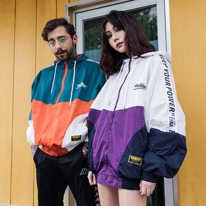 Image 5 - Hip Hop Mens Hooded Windjack Herfst 2019 Casual Vintage Kleur Blok Losse Track Hoodie Jas Jassen Streetwear Hiphop