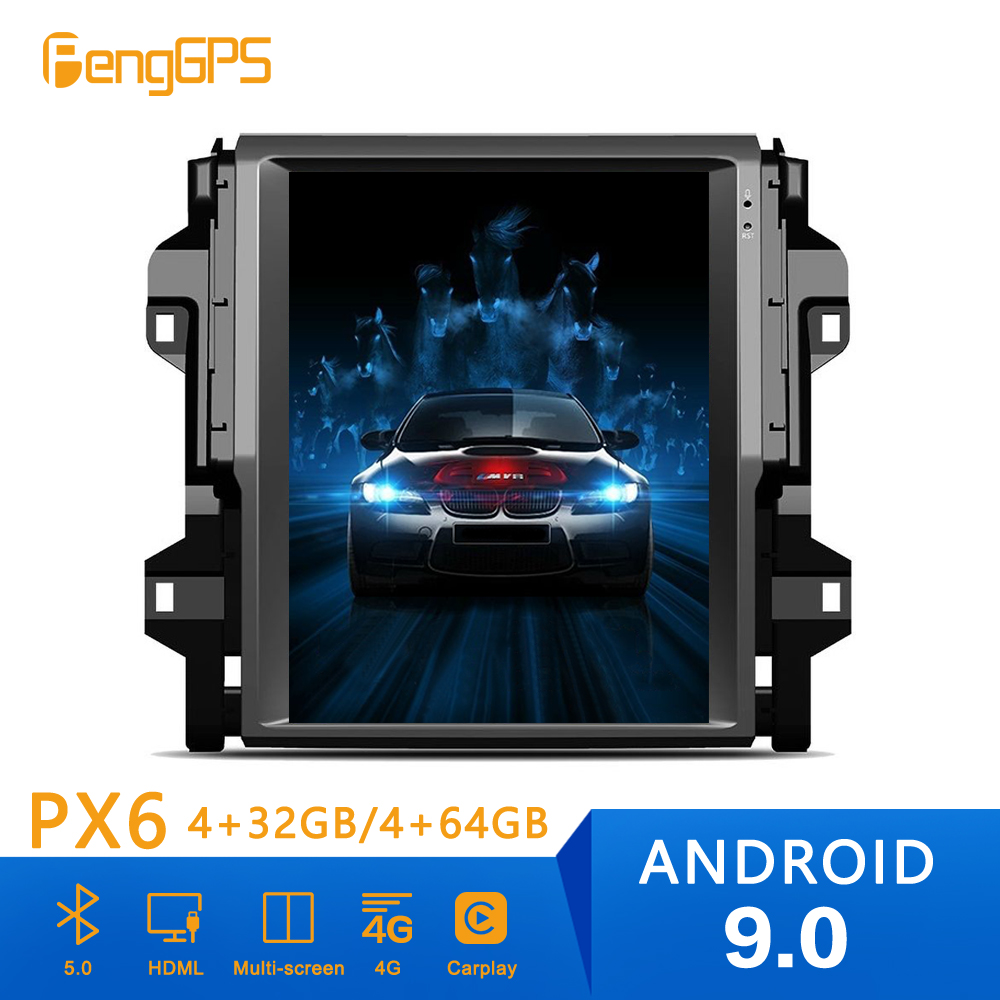 <font><b>Android</b></font> 9 PX6 4+64GB Tesla Style Car DVD Player GPS Navigation For <font><b>TOYOTA</b></font> Fortuner 2016-2019 stereo Head Unit Multimedia Player image