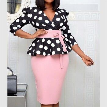 Women Dress Peplum Polka Dot Classy Wasit Belt Fake Two Pieces Set Patchwork Modest Bodycon Office Ladies Vestido Elegant Robe knot side polka dot peplum top