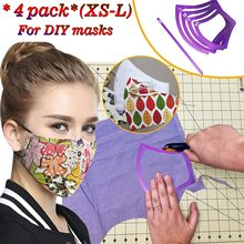 4pc Mask Sewing Template Mask Pattern Plastic Mask Mold With Elastic Tools Diy Mask Xs-l