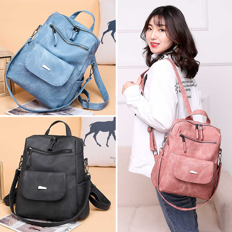NEW CASUAL BACKPACK FEMALE BRAND LEATHER WOMEN/'S BAG LARGE CAPACITY SCHOOL