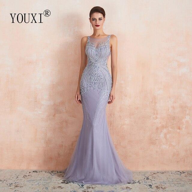 YOUXI יוקרה חרוזים קריסטל ערב שמלות 2020 סקסי Sheer צוואר לבנדר בת ים פורמליות לנשף שמלות לנשים ללא שרוולים