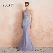 YOUXI Luxury Beaded Crystal Evening Dresses 2020 Sexy Sheer Neck Lavender Mermaid Formal Prom Gowns for Women Sleeveless