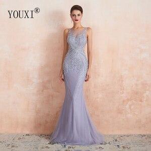 Image 1 - Youxi luxo frisado cristal vestidos de noite 2020 sexy puro pescoço lavanda sereia formal do baile de formatura para as mulheres sem mangas
