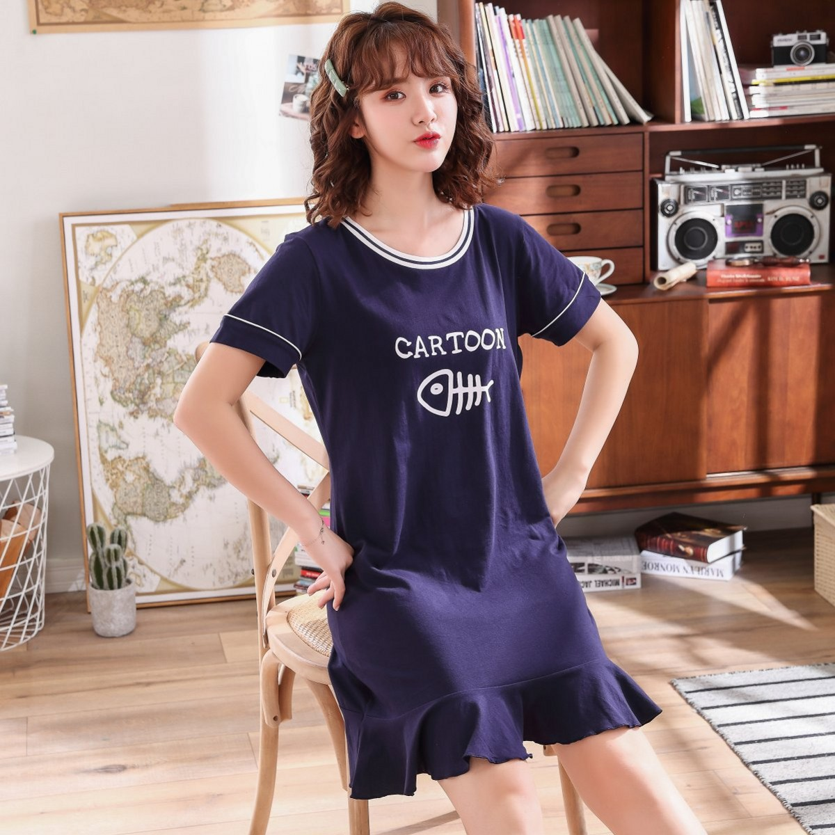 Pn-205 Korean-style Pure Cotton Couples Pajamas Women's Summer Short-sleeved Cat Eat Fish Nightgown Men Cotton Homewear Set