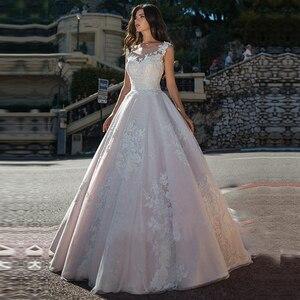Image 1 - מרתק O צוואר אונליין חתונת שמלת טול עם תחרת אפליקציות כדור שמלת שמלות כלה כפתור חזרה Vestido דה Noiva