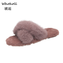 Whoholl Winter Women Home Slippers With Faux Fur Fashion Warm Shoes Woman Slip On Flats Female Slides Black Pink Plus Size 35-40