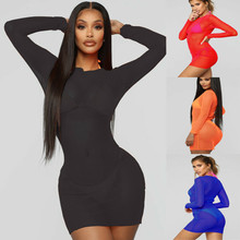 Mini Dress Crop-Tops Clubwear Skinny-Style Sexy Women's Mesh Sheer Casual See-Through