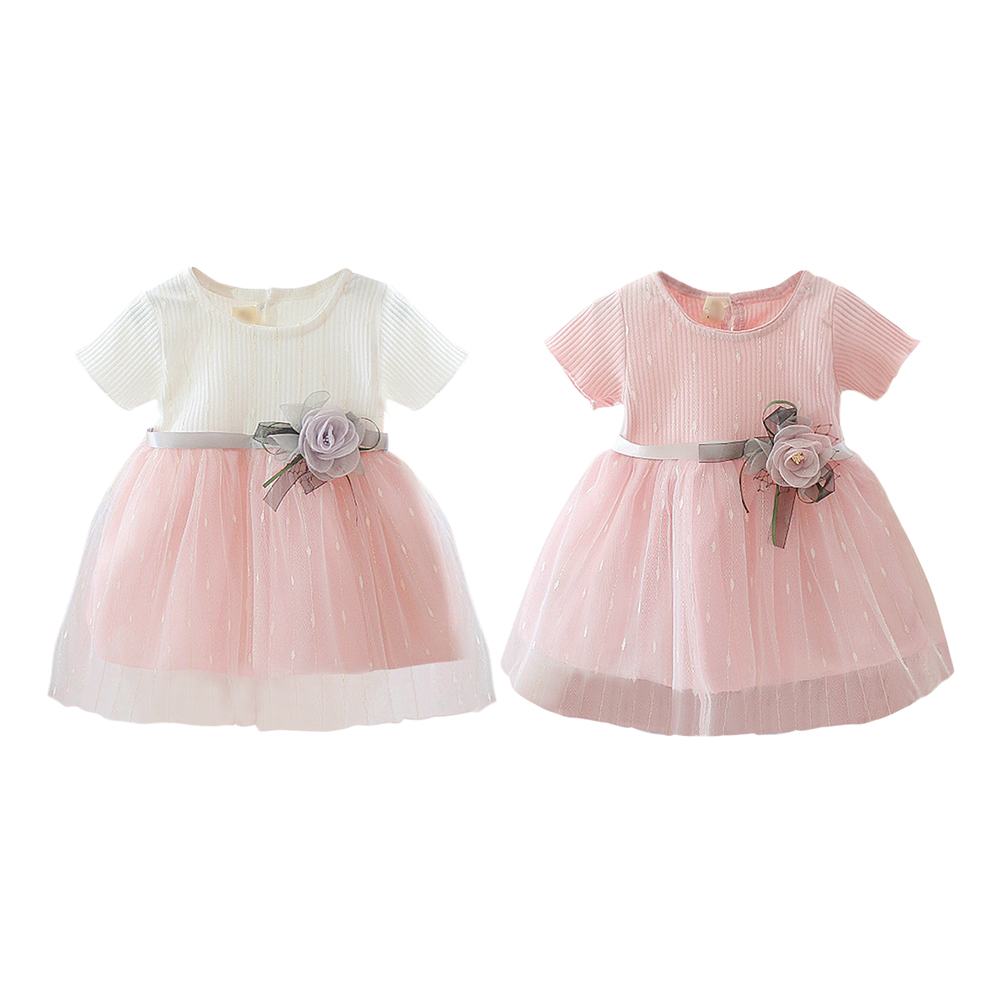 Princess Baby Girl Short Sleeve Dress Party Birthday Baptism Dress Patchwork Tulle Infantil Vestido Newborn Summer Clothing