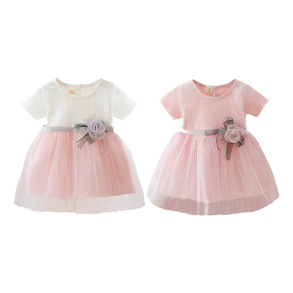 Princess Baby Girl Short Sleeve Dress Party Birthday Baptism Dress Patchwork Tulle Infantil Vestido Newborn Summer Clothing