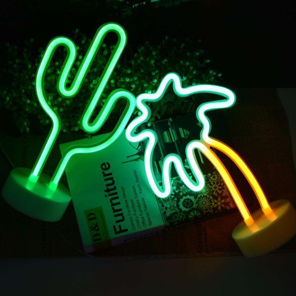 USB Battery Led Neon Light Flamingo Coconut Tree Cactus Unicorn Shape Lamp Colorful Home Rooms Decoration Tabletop Night lights