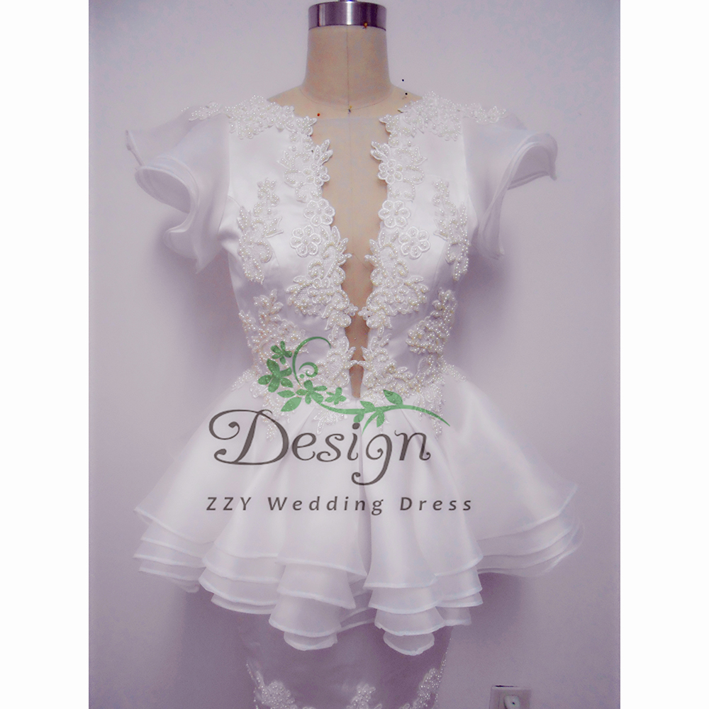 Hervorragende Echt Bilder Kurze Brautkleider Brautkleider V-ausschnitt Mantel Sexy Vestidos De Novia Gelinlik Ehe Empfang Neue