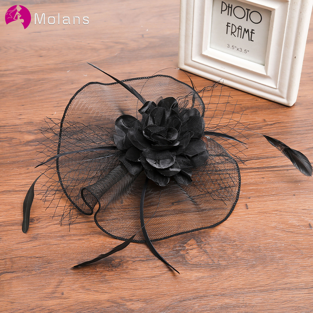 Molans Beautiful Retro Flower Headband For Bridal Hair Accessories Fashion Feather Fringed Hairpin Hair Hoop Wedding Style