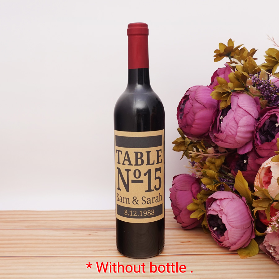 9x12.7 cm Customized Wedding Anniversary Birthday Party Name and date Wine Bottle Labels DIY Table Number Event Decor
