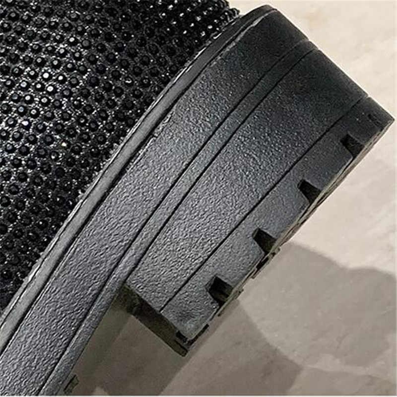Moda seksi kadın dantel-up diz yüksek uzun çizmeler Bling Rhinestone deri platformu Martin çizmeler siyah gümüş Zapatos damla gemi
