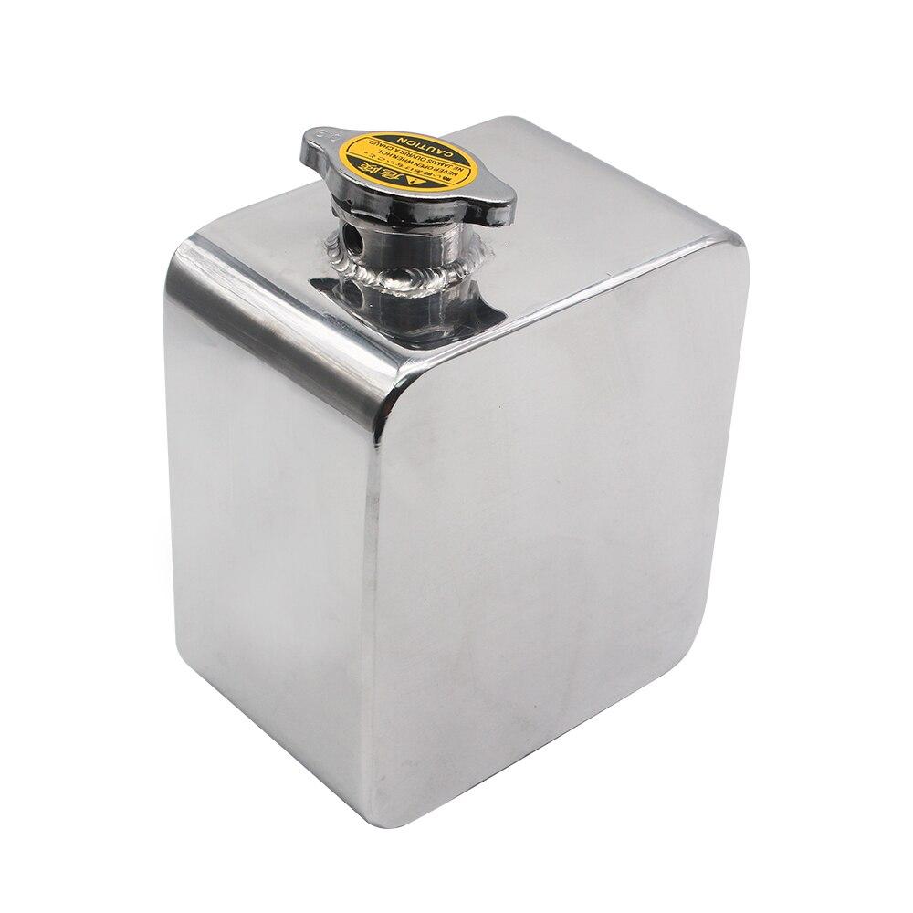 Universel 2L Litre en alliage poli en-tête Expansion réservoir d'eau et bouchon réservoir d'eau en-tête liquide de refroidissement réservoir de débordement réservoir Kit