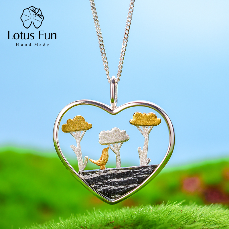 Lotus Fun Real 925 Sterling Silver Natural Creative Handmade Fine Jewelry Planting Trees Of Clouds Pendant Without Necklace