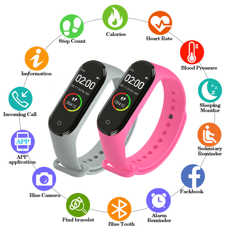 Portable Men's And Women's Waterproof Smart Color Screen M4 Watch Heart Rate Monitor Monitoring Health Tracker Couple Watches
