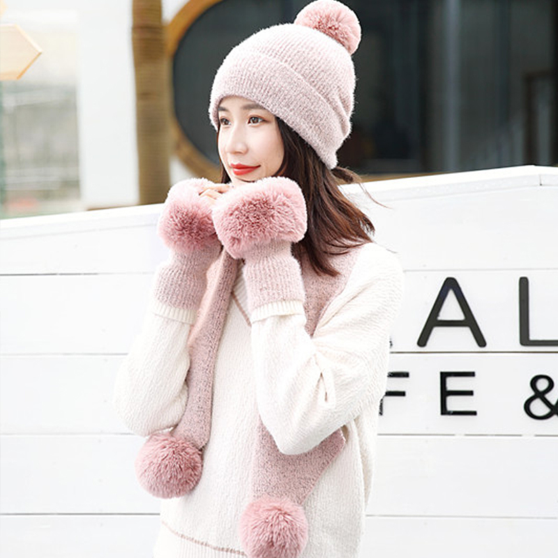 Winter Pompon Beanie Hat Scarf Gloves Set Solid Thick Warm Women Cap Gloves Set Fashion Outdoor Windproof Ear Flap Beanie Bonnet
