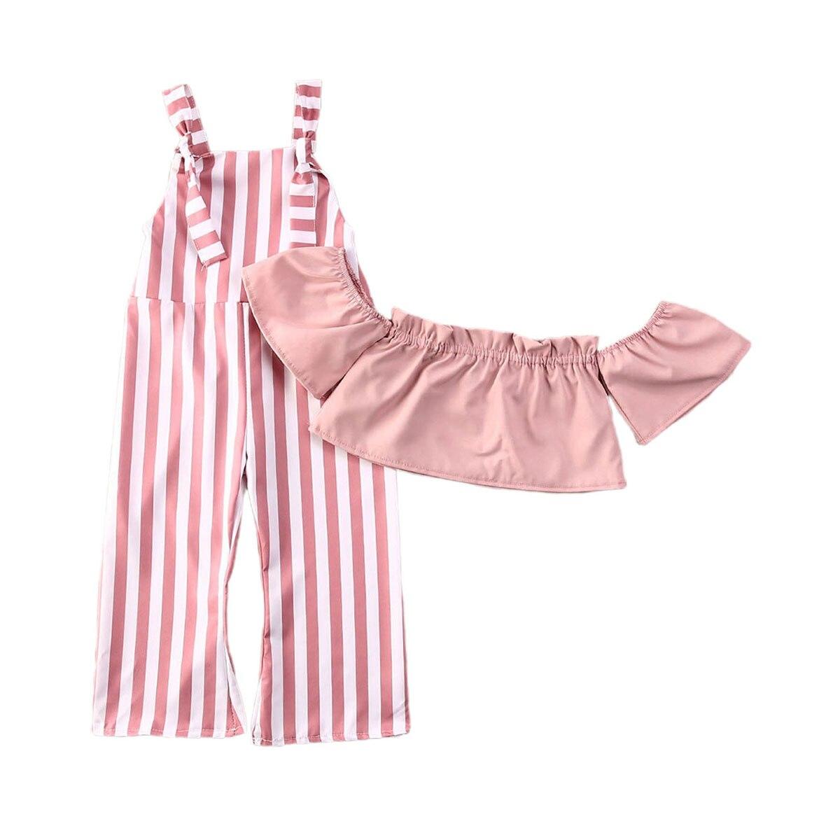 Letnie niemowlę dziewczynek ubrania zestawy różowe paski Off ramię t-shirty topy + solidne kombinezony spodnie